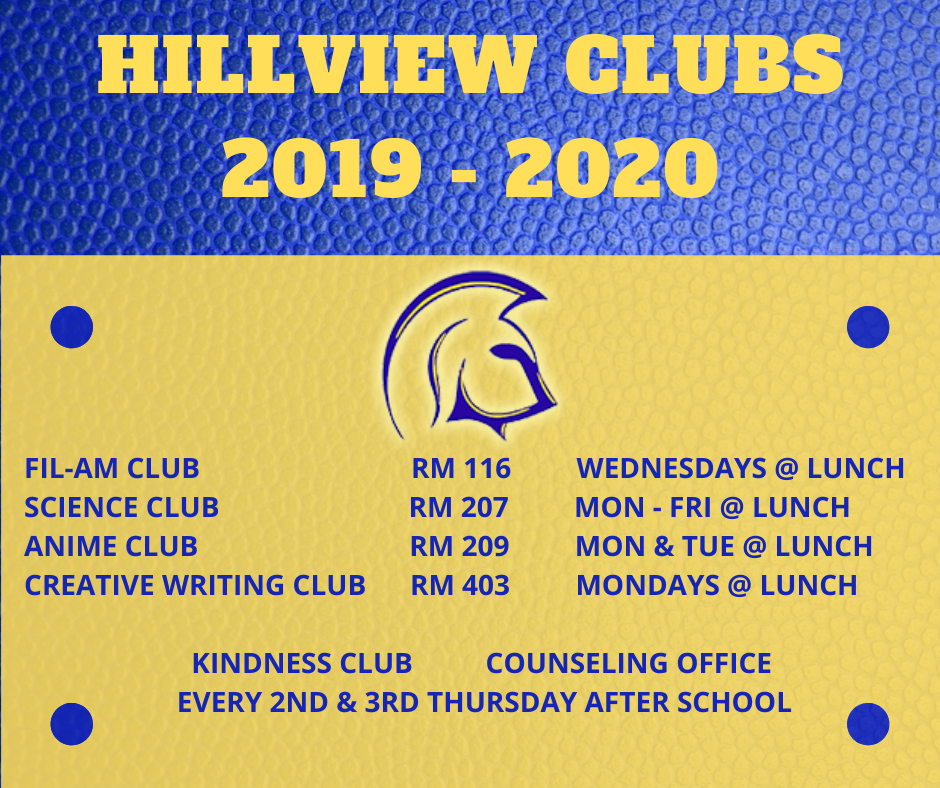 Hillview Clubs 2019-2020
