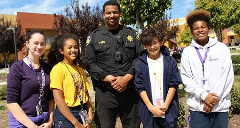 Officer and students