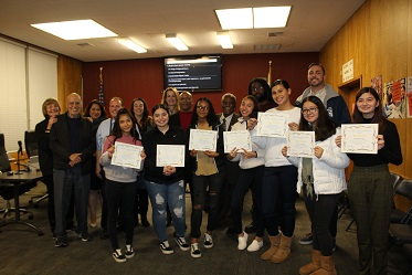 Leadership students recognized at December 11th PUSD Board Meeting