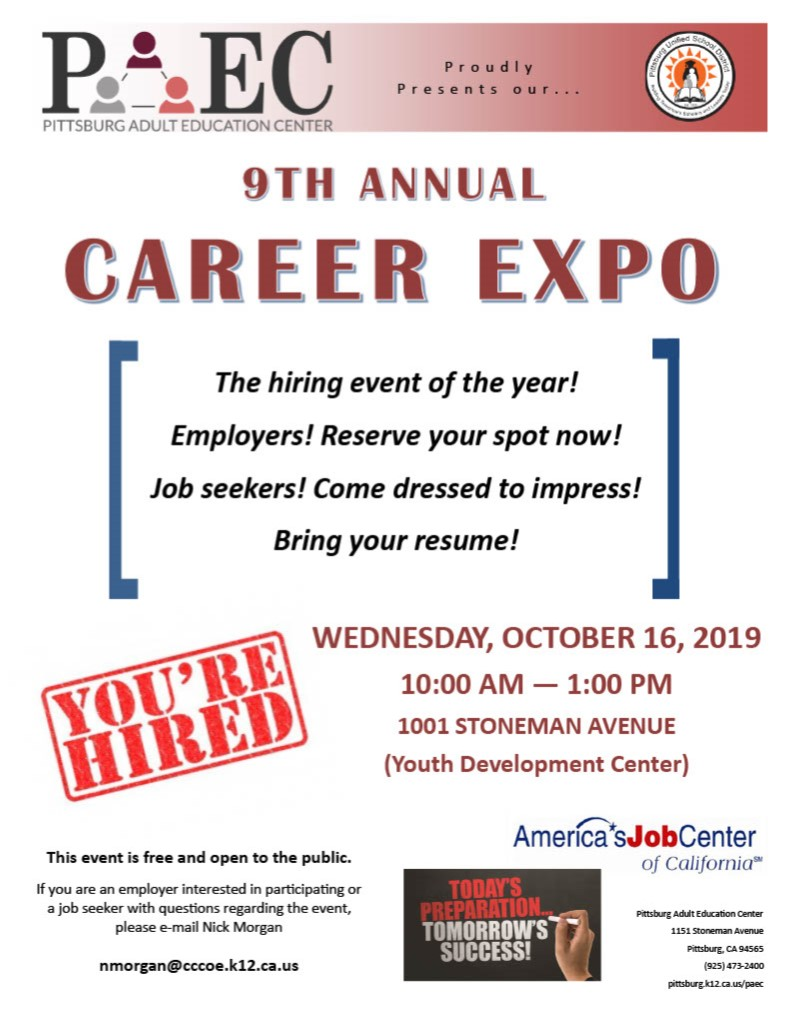 9th Annual Career EXPO! Wednesday, October 16, 2019