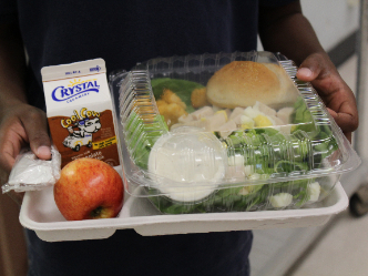 child holding school lunch of salad, milk, and roll